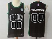 Mens Nba Boston Celtics Custom Made Black Black Number Nike Jersey