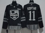 Mens Nhl Los Angeles Kings #11 Anze Kopitar Black 100 Anniversary Adidas Jersey