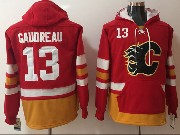 Mens Nhl Calgary Flames #13 Johnny Gaudreau Red One Front Pocket Hoodie Jersey