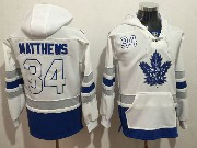Mens Nhl Toronto Maple Leafs #34 Auston Matthews White One Front Pocket Hoodie Jersey