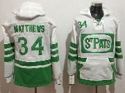 Mens Nhl Toronto Maple Leafs #34 Auston Matthews White Green Ice Hoodie Jersey One Front Pocket