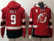 Mens Nhl New Jersey Devils #9 Taylor Hall Red One Front Pocket Hoodie Jersey