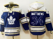 Mens Reebok Nhl Toronto Maple Leafs #34 Auston Matthews Blue Hoodie