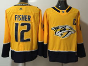 Mens Nhl Nashville Predators #12 Mike Fisher Gold Adidas Jersey