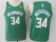 Youth Nba Milwaukee Bucks #34 Giannis Antetokounmpo Green Swingman Nike Jersey