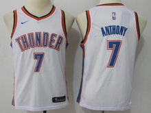 Youth Oklahoma City Thunder #7 Carmelo Anthony White Swingman Nike Jersey