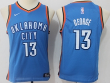 Youth Oklahoma City Thunder #13 Paul George Blue Swingman Nike Jersey