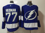 Mens Tampa Bay Lightning #77 Victor Hedman Blue Adidas Jersey