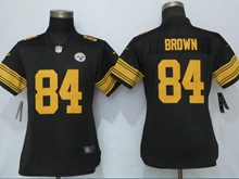 Women Nfl Pittsburgh Steelers #84 Antonio Brown Black Color Rush Elite Jersey