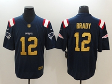 Mens New England Patriots #12 Tom Brady Navy Blue Color Rush Gold Number Limited Jersey