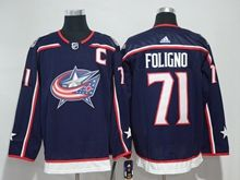 Mens Nhl Columbus Blue Jackets #71 Nick Foligno Blue Adidas Jersey