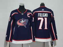 Youth Women Nhl Columbus Blue Jackets #71 Nick Foligno Blue Adidas Jersey