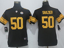 Womens Nfl Pittsburgh Steelers #50 Ryan Shazier Black Color Rush Limited Player Jersey