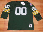 Mens Nfl Green Pay Packers Custom Made Green Throwbacks Long Sleeve Jersey