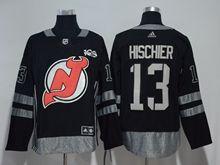 Mens Nhl New Jersey Devils #13 Nico Hischier Black 100 Anniversary Adidas Jersey