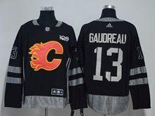 Mens Nhl Calgary Flames #13 Johnny Gaudreau Black 100 Anniversary Adidas Jersey