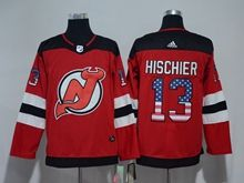 Mens New Jersey Devils #13 Nico Hischier Red (usa Flag Fashion) Adidas Jersey
