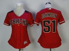 Women Mlb Arizona Diamondbacks #51 Randy Johnson New Red Jersey