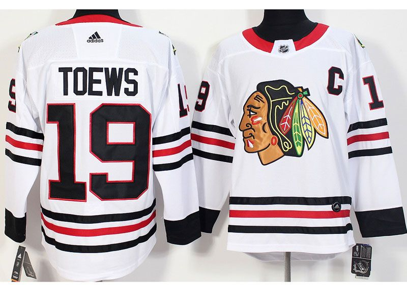 Mens Nhl Chicago Blackhawks #19 Jonathan Toews White Adidas Jersey