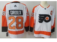 Mens Philadelphia Flyers #28 Claude Giroux (c) White Away Adidas Jersey