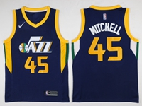 Mens 2017-18 Season Nba Utah Jazz #45 Donovan Mitchell Dark Blue Nike Swingman Jersey