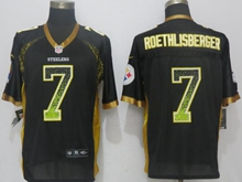New Mens Pittsburgh Steelers #7 Ben Roethlisberger Drift Fashion Black Nike Elite Jersey