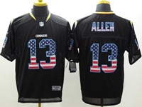 Mens Nfl San Diego Chargers #13 Keenan Allen Usa Black Flag Fashion Elite Jerseys