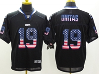 Mens Nfl Indianapolis Colts #19 Johnny Unitas Usa Black Flag Fashion Elite Jerseys