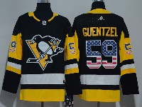 Mens Nhl Pittsburgh Penguins #59 Jake Guentzel Black (usa Flag Fashion) Adidas Jersey
