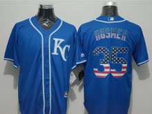 Mens Mlb Kansas City Royals #35 Eric Hosmer Blue (kc) Blue Usa Flag Pinstripe Cool Base Jersey