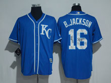 Mens Mlb Kansas City Royals #16 Bo Jackson (kc) 2017 Blue Training Flex Base Jersey