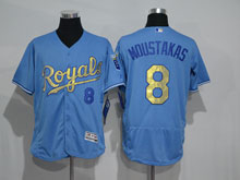 Mens Mlb Kansas City Royals #8 Mike Moustakas Light Blue (royals) Gold Program Elite Jersey