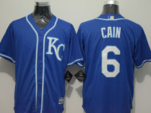 Mens Mlb Kansas City Royals #6 Lorenzo Cain Blue (kc) Flex Base Jersey