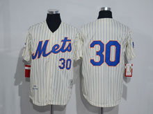 Mens Mlb New York Mets #30 (no Name) Cream Blue Stripe Throwbacks Jersey