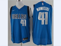 Mens Nba Dallas Mavericks #41 Nowitzki Blue Nike Icon Edition Jersey