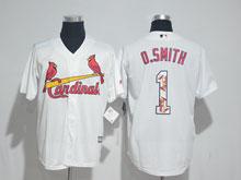 Mens Majestic St.louis Cardinals  #1 Ozzie Smith White Fashion Cool Base Jersey