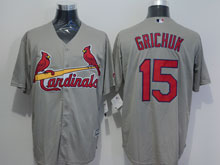 Mens Majestic St.louis Cardinals #15 Randal Grichuk Gray Jersey