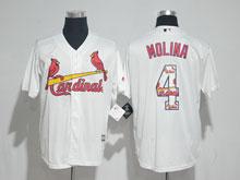 Mens Majestic St.louis Cardinals #4 Yadier Molina White Fashion Cool Base Jersey