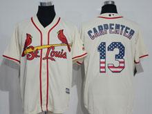 Mens Majestic St.louis Cardinals #13 Matt Carpenter Cream Usa Flag Jersey