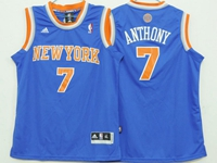 Youth Nba New York Knicks #7 Carmelo Anthony Blue Jersey