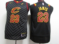 Mens Nba Cleveland Cavaliers #23 Lebron James Black Stripe Nike Jersey
