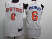 New Mens Nba New York Knicks #6 Kristaps Porzingis White Swingman Nike Jersey