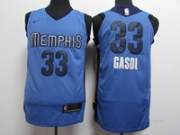 Mens 2017-18 Season Nba Memphis Grizzlies #33 Marc Gasol Light Blue Nike Jersey