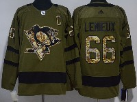 Mens Adidas Nhl Pittsburgh Penguins #66 Mario Lemieux Green Hockey Jersey