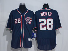 Mens Mlb Washington Nationals #28 Jayson Werth Blue Flex Base Jersey