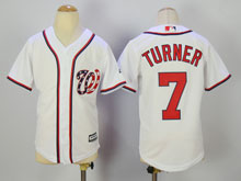 Youth Mlb Washington Nationals #7 Trea Turner White Cool Base Jersey