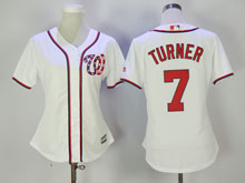 Women Mlb Washington Nationals #7 Trea Turner White Cool Base Jersey