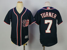 Youth Mlb Washington Nationals #7 Trea Turner Blue Cool Base Jersey