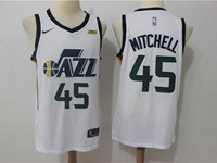 Mens 2017-18 Season Nba Utah Jazz #45 Donovan Mitchell White Nike Swingman Jersey