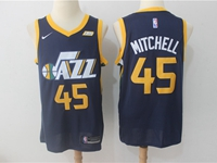 Mens 2017-18 Season Nba Utah Jazz #45 Donovan Mitchell Blue Nike Swingman Jersey